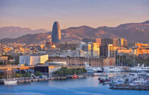 Spain, Catalonia, Barcelona City, Old Harbour, Skyline, sunrise