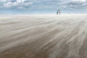 Germany, Lower Saxony, East Frisia, Juist, the beach in stormy weather.