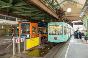 Germany, North Rhine-Westphalia, Wuppertal, the suspension railway was opened on 1 March 1901, station Hauptbahnhof (Döppersberg)
