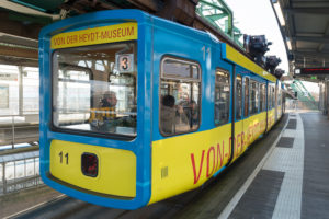 Germany, North Rhine-Westphalia, Wuppertal, the Wuppertal suspension railway is a public transport system that was opened on 1 March 1901, vehicle of the type 1972 / GTW 72