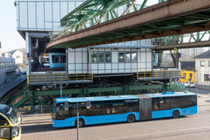 Germany, North Rhine-Westphalia, Wuppertal, the Wuppertal Suspension Railway is a public transport system that was opened on 1 March 1901, Latest generation of vehicles, WSW GTW Generation 15, in operation since Dec. 2016,