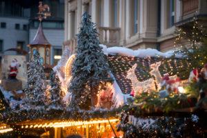 Germany, Baden-Württemberg, Karlsruhe, Christmas market on Stephansplatz Square