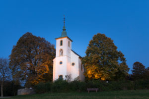 Germany, Baden-Württemberg, Kraichgau, Bruchsal-Untergrombach, Saint Michael's Chapel, baroque pilgrimage church on Michaelsberg Hill, western edge of hilly Kraichgau Region,