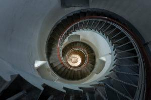 Denmark, Jutland, Ringkøbing Fjord, Lyngvig Lighthouse at Hvide Sande. Spiral staircase in the tower.