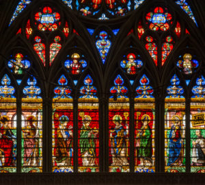 France, Lorraine, Metz, Saint-Étienne Cathedral, church window.