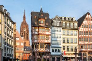 Deutschland, Hessen, Frankfurt, rekonstruierte Häuser am Römerberg.