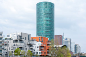 Germany, Hesse, Frankfurt, the Westhafen Tower is a skyscraper in Gutleutviertel. Seat of EIOPA (European Insurance and Occupational Pensions Authority)