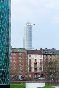 Germany, Hesse, Frankfurt, the building of DZ Bank seen from the Main.