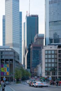 Germany, Hesse, Frankfurt, Frankfurt skyline, view at Untermainbrücke in the financial district.