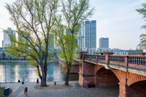 Germany, Hesse, Frankfurt, Frankfurt skyline at the Untermain bridge.
