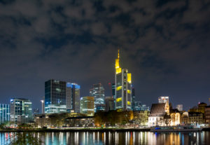 Germany, Hesse, Frankfurt, Frankfurt skyline at night.