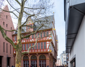 """Germany, Hesse, Frankfurt, reconstruction """"Haus zur Goldenen Waage"""" medieval half-timbered house in the old town."""