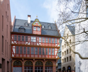 "Germany, Hesse, Frankfurt, reconstruction ""Haus zur Goldenen Waage"" medieval half-timbered house in the old town."