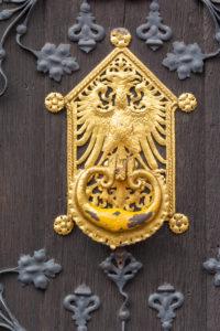 Germany, Hesse, Frankfurt, door fittings on the Römer (town hall).
