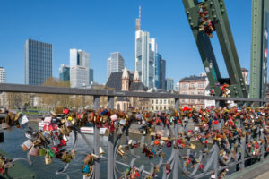 "Germany, Hesse, Frankfurt, bridge of the ""iron pier"" with love locks."