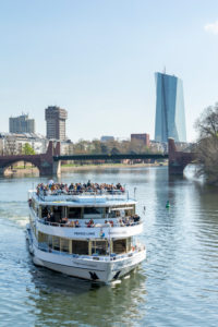 Germany, Hesse, Frankfurt, excursion boat on the Main. In the background the Old Bridge and the ECB skyscraper.