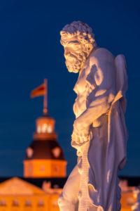 Germany, Baden-Württemberg, Karlsruhe, castle, mythological sculptures on the castle square (Hercules).