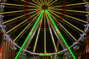 Germany, Baden-Wuerttemberg, Karlsruhe, ferris wheel on the market square in the Christmas time.
