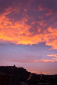 Germany, Baden-Wuerttemberg, Karlsruhe, sunrise on Turmberg.