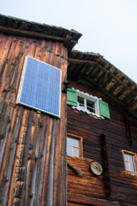 Austria, Montafon, mountain hut with solar panel.