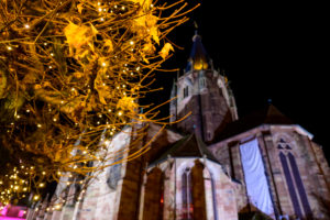 France, Alsace, Wissembourg, Christmas market in the evening