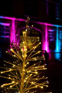 Frankreich, Elsass, Wissembourg, Weihnachtsdekoration, abends