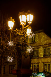 France, Alsace, Wissembourg, Christmas decoration, in the evening