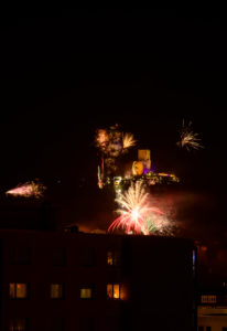 Germany, Baden-Württemberg, Karlsruhe, New Year's Eve in the Durlach district, with the Turmberg.