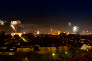Germany, Baden-Wuerttemberg, Karlsruhe, New Year's Eve in the Durlach district.