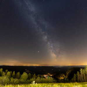 Germany, Baden-Württemberg, Black Forest, Hornisgrinde, the Milky Way over the Hornisgrinde. View towards Mummelsee.