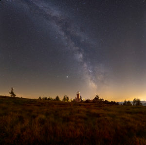 Germany, Baden-Württemberg, Black Forest, Hornisgrinde, the Milky Way over the Hornisgrinde.