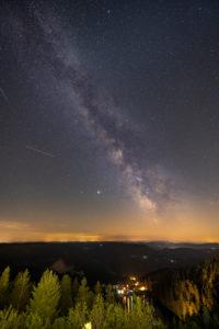 Germany, Baden-Württemberg, Black Forest, Hornisgrinde, the Milky Way over the Hornisgrinde. View towards Mummelsee.