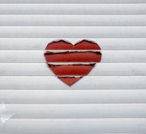 Heart on a roller shutter