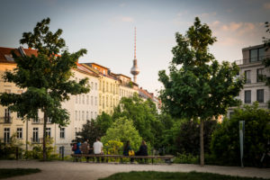 Panoramic view from Wasserturmplatz square in direction of Mitte, Prenzlauer Berg, Berlin