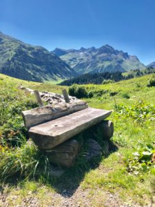 Bench, Hiking, stay, Sky, Blue, Meadow, Mountains, Alps, Summer, Nature, Sun, Portrait, Holidays, Recreation, Tranquility, Lingering, Relaxation,