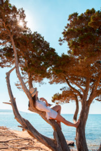 Girl with smartphone on a tree at the beach