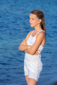 Summer, girl, sea, serious, thoughtful, bored