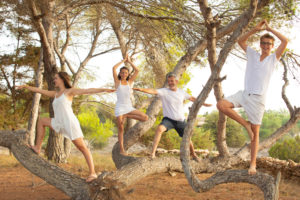 Family, yoga, forest, tree