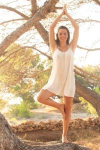 Tree, yoga, teenagers, forest