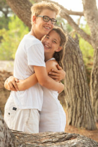 hug, siblings, forest