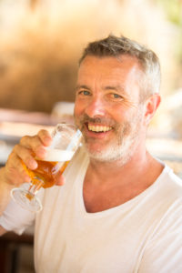 Portrait, beer, man, laugh