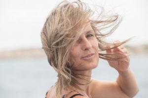 Frau, Haare, Wind, Portrait