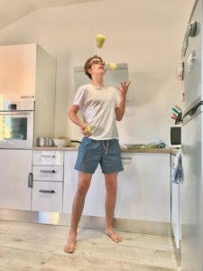 Kitchen, cooking, juggling, boy, teenager, joy, fun, paprika,