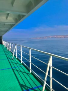Ferry, Railing, Mediterranean Sea, Morning Sun, Sky, Empty, Coast, Rock, Ground, Ship, Vast, Travel, Blue, Green,