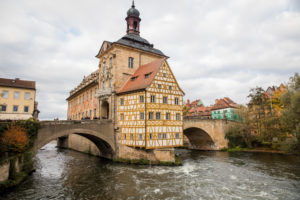 Old Town Hall and bridge over the Regnitz, Bamberg, Franconia, Bavaria, Germany