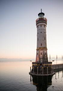 Lighthouse at the harbor, Lake Constance, Lindau, Bavaria, Germany,