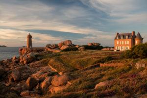 Lighthouse on the Côte de Granit Rose, Brittany, France