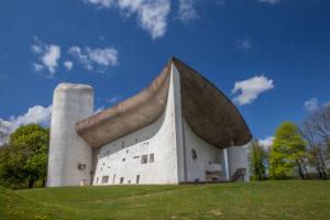 Church Notre-Dame-du-Haut by architect Le Corbusier, Ronchamps, Haute-Saone, Bourgogne-Franche-Comté, France