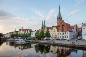 Lübeck old town, ship pier, brick Gothic, Hanseatic League, church towers