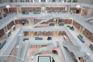 Atrium in the interior, Neue Bibliothek, Stuttgart, Baden-Wurttemberg, Germany